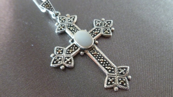 Renaissance Gothic Sterling Silver Marcasite Mother of Pearl Cross and Chain