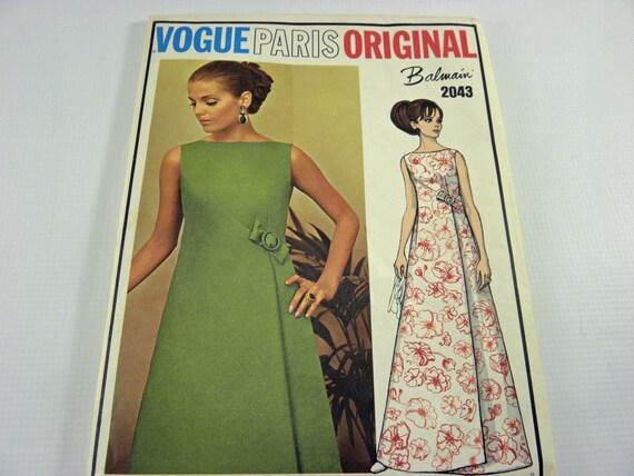 Vogue Sewing Pattern Paris Original Balmain 2043 1960's womens evening dress, Un-cut