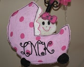 Baby Carriage Burlap Door Hanger