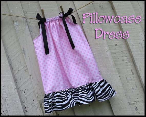 """Pillowcase Dress, Toddler Dress, Pink Polka Dots and Zebra print... Infants 6mo - girl's 8. Made with """"Viola Lee"""" Pattern......""""Mia"""""""