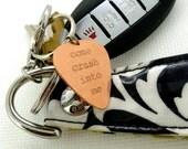 Engraved Copper Guitar Pick Keychain - Dave Matthews Band - Come Crash Into Me-  Boyfriend Gift, , Husband gift,  Summer Sale, Husband