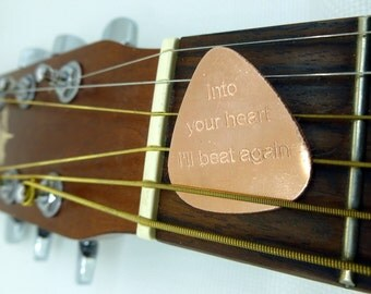 Personalized Guitar Pick - Engraved Copper Guitar Pick - Dave Matthews Band - Into Your Heart I'll Beat Again, Husband