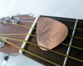 Personalized Guitar Pick - Engraved Copper Guitar Pick -I Carry You In My Heart-  Boyfriend Gift, Husband gift,  Husband