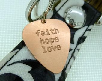 Personalized Keychain - Engraved Copper Guitar Pick Keychain - Faith Hope Love-  Boyfriend Gift, , Husband gift,  Husband