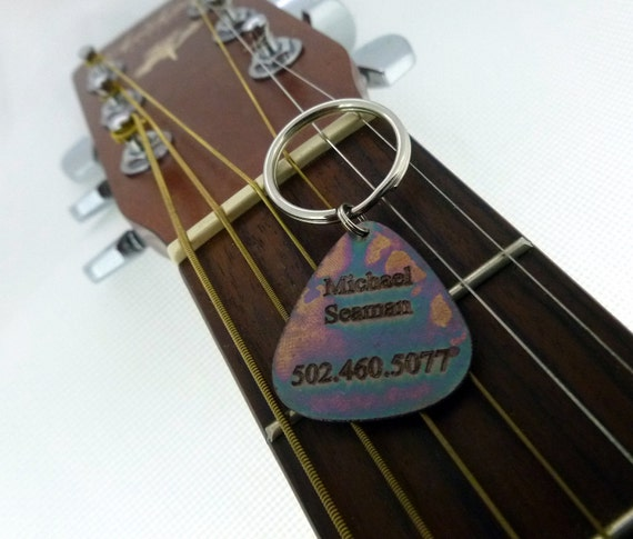Personalized Keychain - Engraved & Antiqued Copper Guitar Pick Keychain - Personalized- Great Valentines Day Gift!Boyfriend Gift