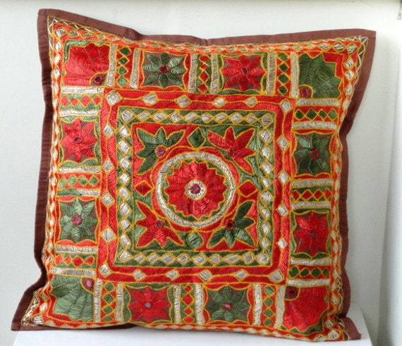 Black Friday / Cyber Monday SALE Brown Pillow cover with Kutchi Hand Embroiderery 16x16 inches cushion cover