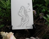 Hand Drawn Pen and Ink Seahorse Note Card