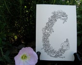 Hand Drawn Pen and Ink Floral Monogram C Note Card