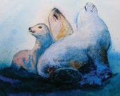 "8"" x 10 "" Metallic Print of Acrylic Painting,  Art Gift, Animals Print"