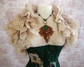 Vintage Antiqued Lace Shrug  Ruffle Opera Shrug OPHELIA  Wedding By Ophelias Folly