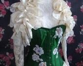 Steampunk Gothic Wedding Lolita Bridal ANTIQUED SILK Ruffle Opera Shrug  By Ophelias Folly
