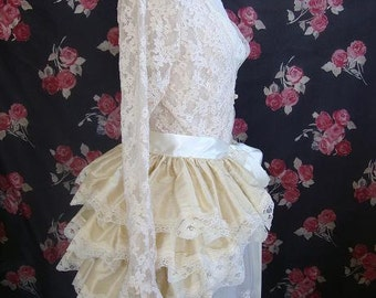Silk Steampunk Bustle Skirt Gothic Wedding Lolita CREAM SILK  Bridal Victorian By Ophelias Folly
