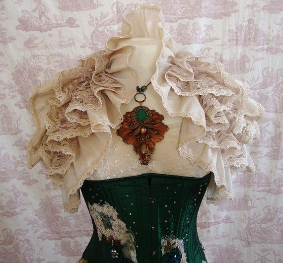 Romance Antiqued Vintage Lace Ruffle Opera Shrug  OPHELIA Steampunk  Wedding By Ophelias Folly