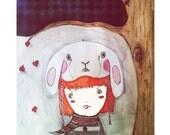 Cute Little Girl illustration - Art Print