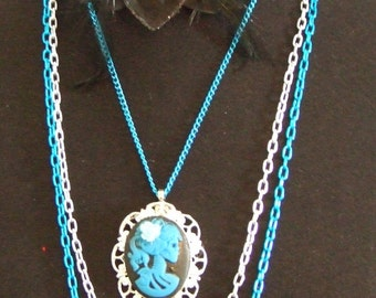 Blue and Silver lolita zombie girl Cameo necklace