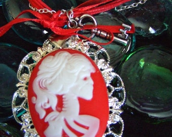 red and white lolita zombie girl cameo necklace