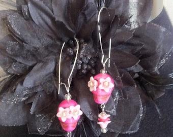 Pink Day of the Dead Sugar Skull earrings