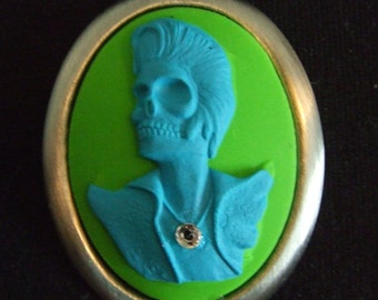 Green and Blue zombie rocker, Dead Elvis, double strand chain necklace