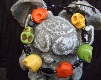 Zombie Howlite Skull bracelet, Day of the Dead