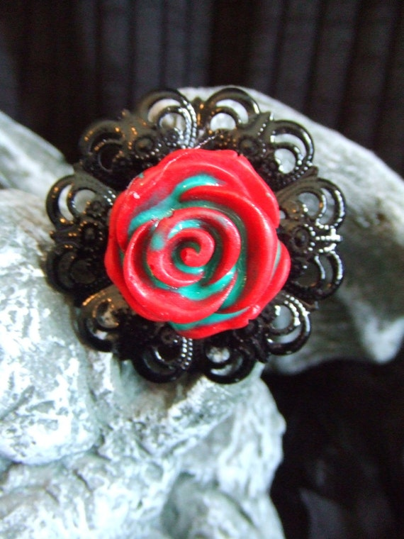 """RED Rose """"ZOMBIFIED""""  rose adjustable ring"""