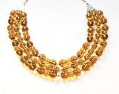 Handmade Multi strand amber beaded statement necklace