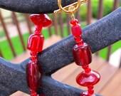 Modern Red Beaded Bracelet
