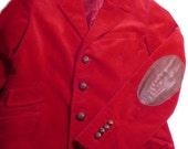 Womens Vtg Ralph Lauren Red Corduroy Leather Elbow Patch Boyfriendd Jacket Blazer 10