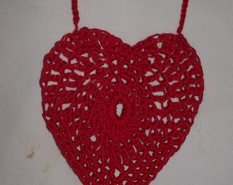Crocheted Red Heart Necklace