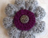 Soft Gray & Plum Purple Crochet Flower Brooch Pin with choice of charming center piece