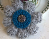 Soft Gray & Teal Blue Crochet Flower Brooch Pin with Choice of Charming Center Piece