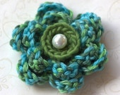 Lovely, Soft, Variegated Green & Aqua, Layered 6 Petal Crochet Flower Brooch Pin with choice of Faux Pearl, Button or Shell center piece