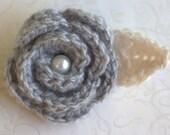 Lady Emma Soft Gray English Rose Crochet Flower Brooch Pin, Wedding Boutonniere