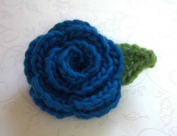 Lady Kathryn Teal Blue English Rose Crochet Flower Brooch Pin, Wedding Boutonniere