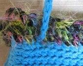Pretty Little Crocheted Bag - Blue, Black and Multi - Handmade