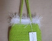 Pretty Little Crocheted Bag - Lime Green and White - Handmade