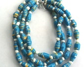 Paper Bead Necklace- Blue, Yellow and White- Double Stranded