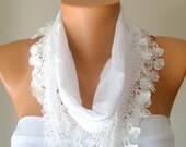white hand made cotton scarf headband necklace cowl with lace edge headband bandana women scarves summer trend cotton fabric scarf