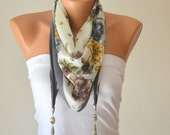 grey and yellow  hand made silky cotton tringle scarf designed with naturel gemstone and tibetan silver chams