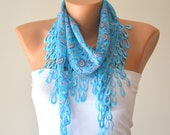 turquoise  hand made cotton scarf headband necklace cowl with Lace Edge