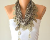 cotton scraf,grey leopard hand made cotton scarf headband necklace cowl with Lace Edge