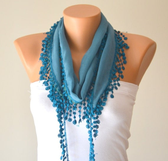 cotton scarf ,teal blue cotton scarf headband necklace cowl with lace edge headband bandana women scarves summer trend cotton fabric scarf