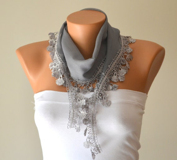 cotton scarf-grey cotton scarf headband necklace cowl with lace edge women scarves fashion scarf  christmas gifts