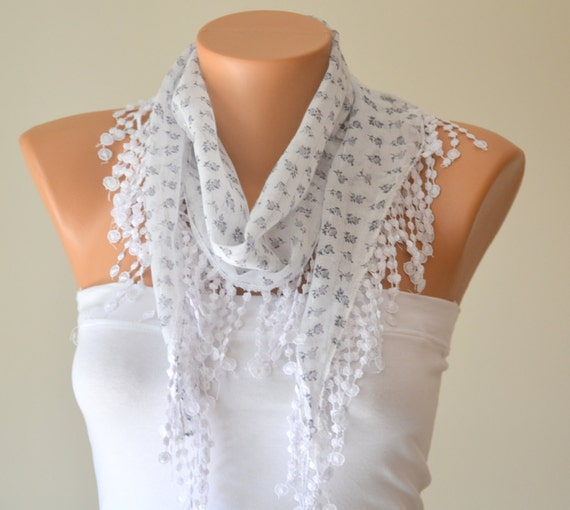 bridesmaid gifts,white cotton scarf headband necklace cowl with lace edge wedding accessory womens scarves summer scarf cotton scarf