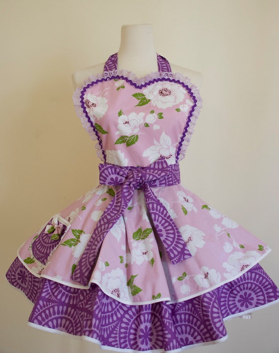 Womens Full Apron with Lilac and Purple Flower pattern