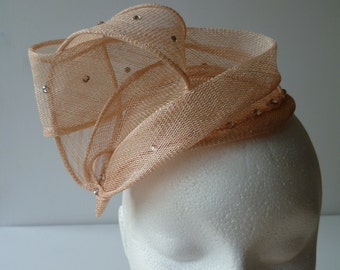 SALE ITEM   Rose Pink Fascinator with Pink Crystals