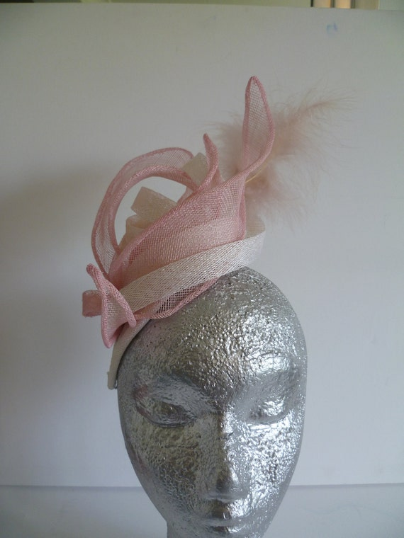 Pink and White fascinator for weddings