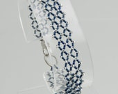 Navy and Silver Glass Bead Bracelet and Ring