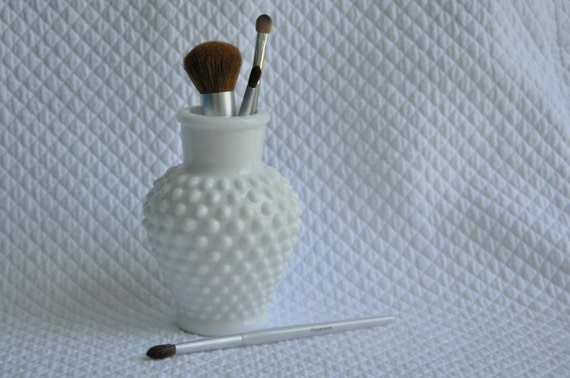 Vintage Milk Glass Hobnail Vase