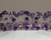 Purple Gemstone Amethyst and Swarovski Crystal Tiara