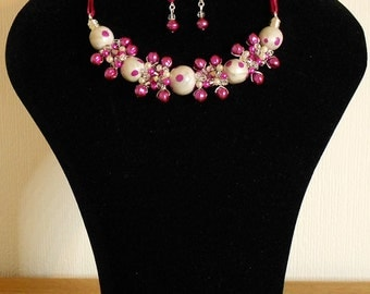 Gorgeous Fuchsia Pink and Pearl Wire Wrap Necklace & Earrings Set